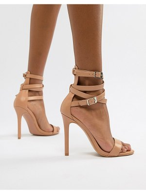 PrettyLittleThing ankle wrap detail barely there heeled sandals