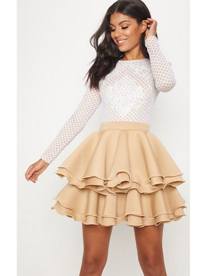 PrettyLittleThing applique detail ruffle tiered skater dress
