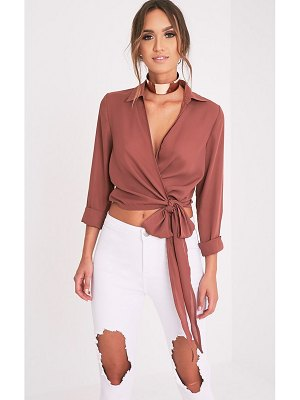 PrettyLittleThing avalyn dark wrap front tie side blouse