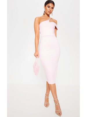 PrettyLittleThing baby pink asymmetric neck midi dress