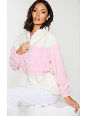 PrettyLittleThing baby pink borg colour block zip hoodie