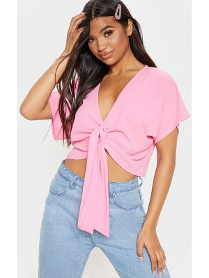 PrettyLittleThing baby pink chiffon knot front short sleeve crop blouse