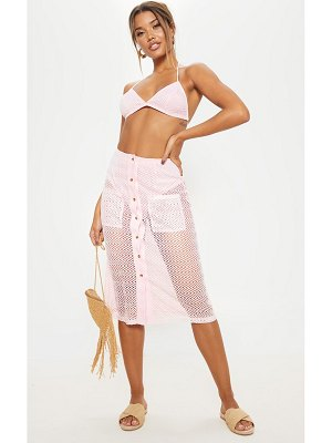 PrettyLittleThing baby pink  crochet button front midi skirt