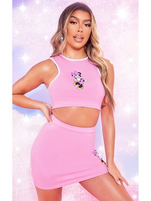 PrettyLittleThing baby pink disney crop top