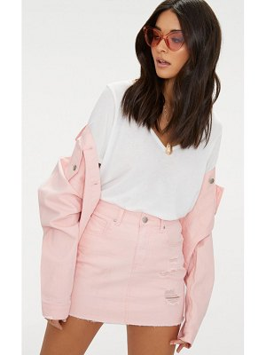 PrettyLittleThing baby pink distressed denim mini skirt