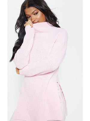 PrettyLittleThing baby pink high neck oversized sweater