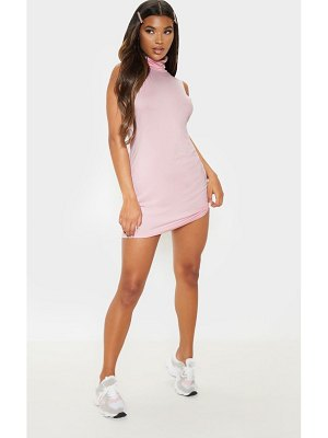 PrettyLittleThing baby pink high neck sleeveless bodycon dress