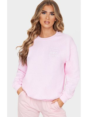 PrettyLittleThing baby pink i love you slogan oversized sweater