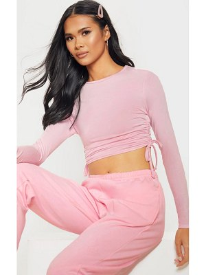 PrettyLittleThing baby pink jersey ruched side long sleeve top
