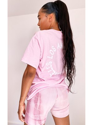 PrettyLittleThing baby pink la oversized t shirt