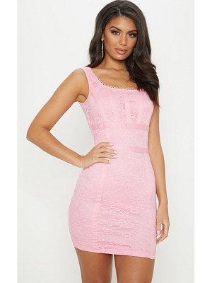 PrettyLittleThing baby pink lace square neck panelled bodycon dress