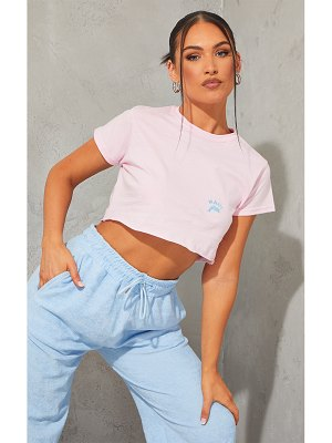 PrettyLittleThing baby pink maui dolphin embroidered crop t shirt