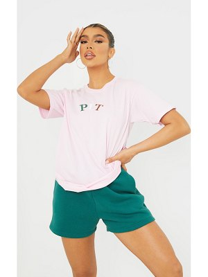 PrettyLittleThing baby pink multi embroidered t shirt