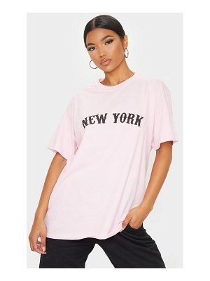 PrettyLittleThing baby pink new york printed t shirt