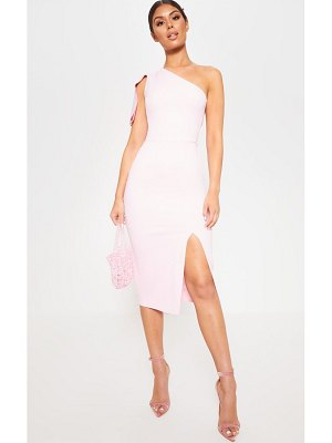 PrettyLittleThing baby pink one shoulder bow detail midi dress