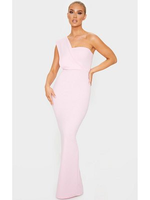 PrettyLittleThing baby pink one shoulder maxi dress