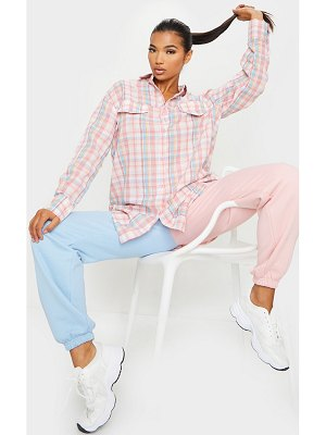 PrettyLittleThing baby pink checked oversized shirt