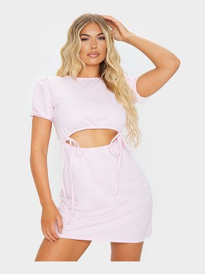 PrettyLittleThing baby pink puff sleeve cut out tie sweat sweater dress