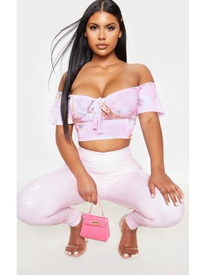 PrettyLittleThing baby pink renaissance frill bardot cup detail crop top