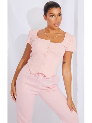 PrettyLittleThing baby pink rib puff sleeve button front panel top
