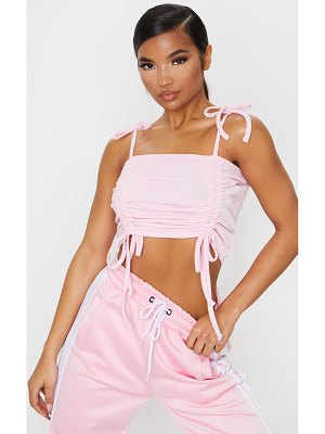PrettyLittleThing baby pink rib ruched cami top