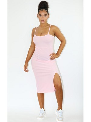PrettyLittleThing baby pink rib square neck strappy split midi dress