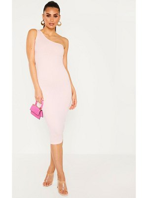 PrettyLittleThing baby pink ribbed one shoulder midi dress