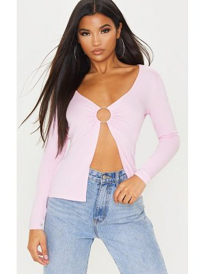 PrettyLittleThing baby pink ring detail long sleeve top