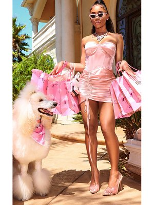 PrettyLittleThing baby pink satin ruched side bandeau bodycon dress