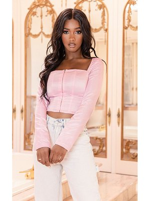 PrettyLittleThing baby pink satin square neck long sleeve corset top