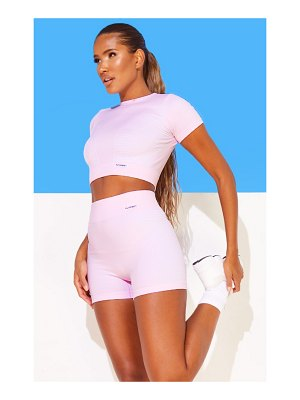 PrettyLittleThing baby pink seamless sport cropped tee