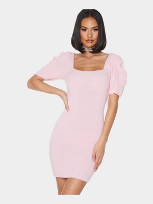 PrettyLittleThing baby pink short puff sleeve knitted bodycon dress