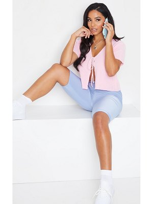 PrettyLittleThing baby pink short sleeve tie front cardigan