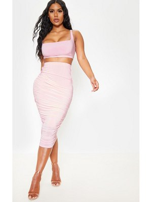 PrettyLittleThing baby pink slinky second skin ruched midi skirt