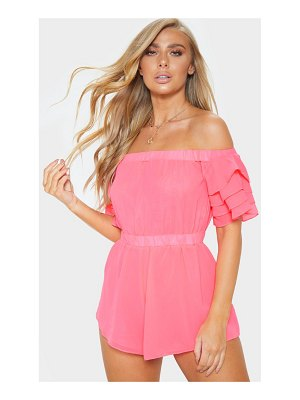 PrettyLittleThing baby pink strapless frill playsuit