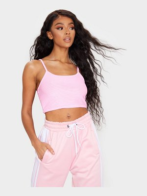 PrettyLittleThing baby pink structured rib crop cami