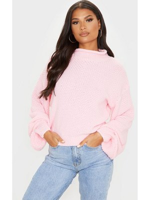 PrettyLittleThing baby pink textured knit roll neck sweater
