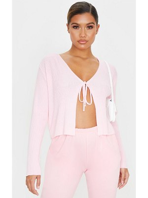 PrettyLittleThing baby pink tie front cardigan