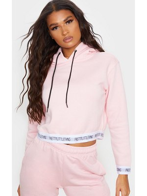 PrettyLittleThing baby pink trim cropped hoodie