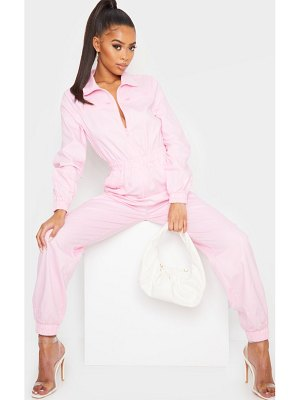 PrettyLittleThing baby pink utility contrast zip jumpsuit