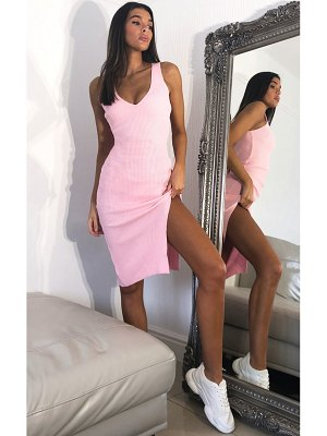 PrettyLittleThing baby pink v neck side split knitted midi dress