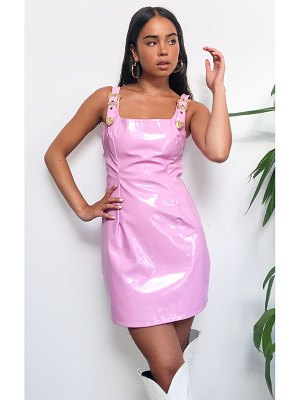 PrettyLittleThing baby pink vinyl buckle strap detail sleeveless bodycon dress