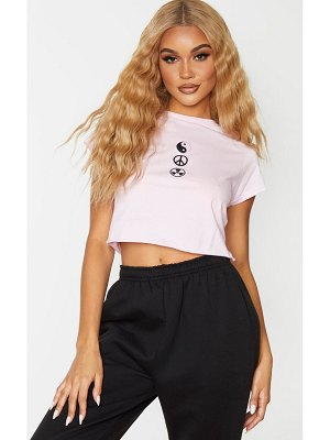 PrettyLittleThing baby pink ying yang symbol cropped fitted t shirt