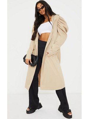 PrettyLittleThing balloon sleeve belted midi trench