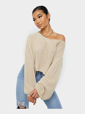 PrettyLittleThing balloon sleeve knitted boxy cropped sweater