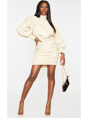 PrettyLittleThing balloon sleeve pocket detail ruched shirt dress