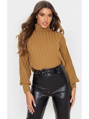 PrettyLittleThing balloon sleeve roll neck ribbed sweater