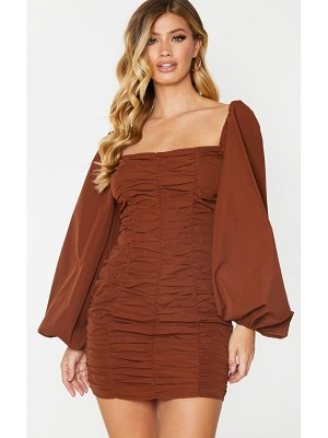 PrettyLittleThing balloon sleeve ruched bodycon dress