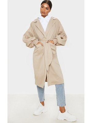 PrettyLittleThing balloon sleeve tie waist trench