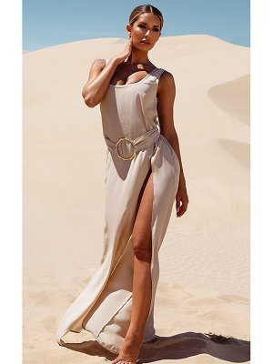 PrettyLittleThing bamboo ring belted maxi beach dress